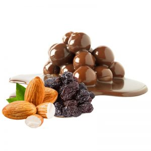Chocolate Coated Almonds, Black Raisins